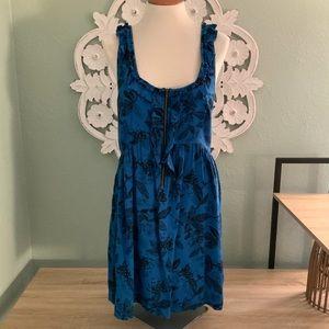 Kimchi Blue Floral Leaf print ruffle tank dress L